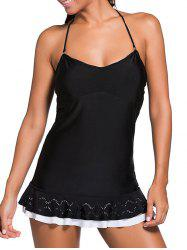 Halter Ruffle Skirted Tankini Set - BLACK