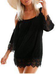 Lace Trim Cold Shoulder Dress - BLACK L