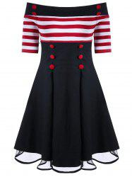 Off Shoulder Striped Pin Up Dress