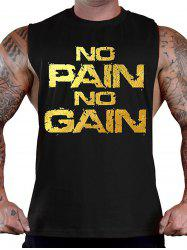 No Pain No Gain Workout Tank Top - BLACK AND GOLDEN