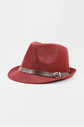 Chic Belt Decorated Linen Hat For Men - COLOR ASSORTED
