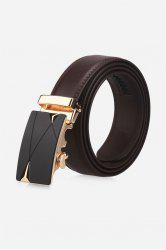 Auto Buckle Triangle Bulge Faux Leather Belt - BROWN