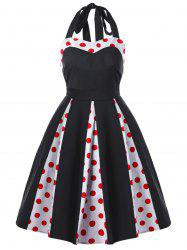 Vintage Polka Dot Halter Bowknot Swing Dress