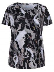 Plus Size Feather Camo Printed V Neck T-shirt
