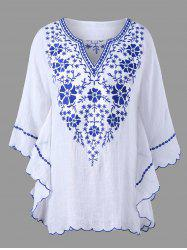 Plus Size Scalloped Hem Embroidered Blouse - WHITE