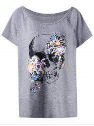 Plus Size Raglan Sleeve Skull T-Shirt