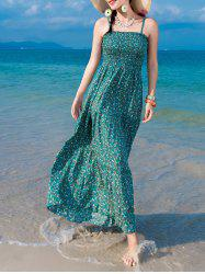 Tiny Floral Chiffon Shirring Slip Maxi Dress