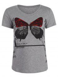 Fitted Beaded Butterfly Print T Shirt