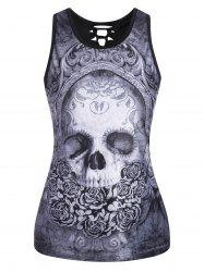 Cut Out  3D Skull Print Tank Top - BLACK GREY