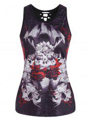 Cut Out  3D Skull Print Tank Top