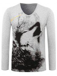 Animal Printed V Neck Tee - GRAY