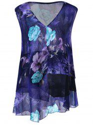 Plus Size Floral Asymmetric Top
