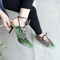 Pointed Toe Lace Up Velvet Pumps