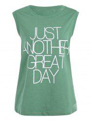 Great Day Letter Plus Size Simple Tank Top
