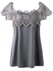 Plus Size Lace Panel Cutwork T-shirt