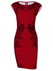Cap Sleeve Floral Sheath Dress - RED