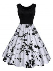 Floral Print Midi Vintage Summer Dress - BLACK XL