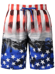 Star and Stripe Print Board Shorts - RED 3XL