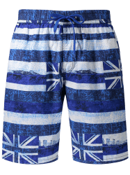 Union Jack Print Stripe Patriotic Board Shorts -