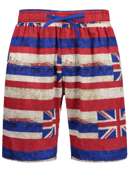 Union Jack Print Stripe Board Shorts