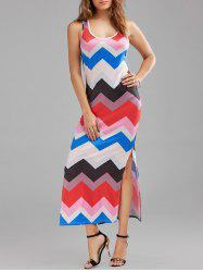Casual Zig Zag Print Split Maxi Dress