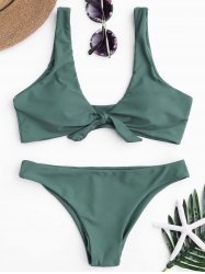 Knotted Scoop Neck Bikini Set - LAKE GREEN