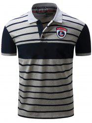 Color Block Panel Embroidered Stripe Polo T-shirt