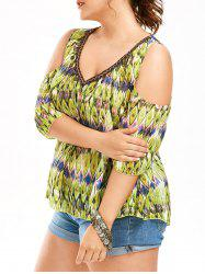 Cold Shoulder Snake Print Plus Size Blouse