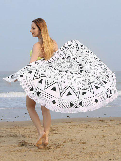 Geometric Mandala Print Fringe Round Beach TowelACCESSORIES<br><br>Color: BLACK WHITE; Scarf Type: Shawl/Wrap; Group: Adult; Gender: For Women; Style: Fashion; Material: Polyester; Pattern Type: Geometric; Season: Fall,Spring,Summer,Winter; Weight: 1.6000kg; Package Contents: 1 x Beach Towel;