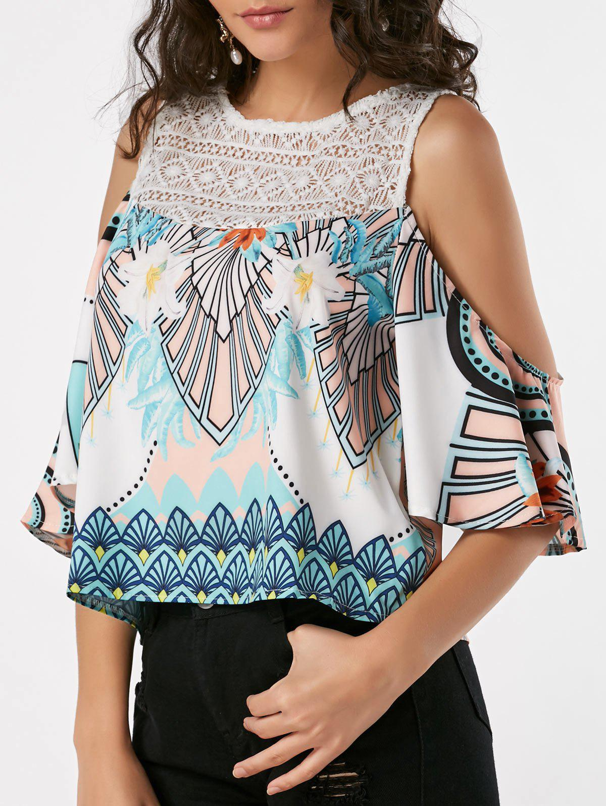 Hot Lace Insert Printed Cold Shoulder Tank Top