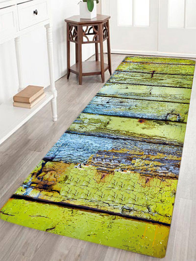 2019 Corroded Wood Floor Pattern Water Absorption Area Rug