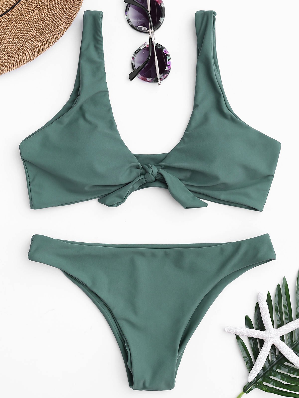 Knotted Scoop Neck Bikini SetWOMEN<br><br>Size: L; Color: LAKE GREEN; Swimwear Type: Bikini; Gender: For Women; Material: Nylon,Polyester,Spandex; Bra Style: Padded; Support Type: Wire Free; Neckline: Scoop Neck; Pattern Type: Solid; Waist: Low Waisted; Elasticity: Elastic; Weight: 0.2000kg; Package Contents: 1 x Top  1 x Bottoms;