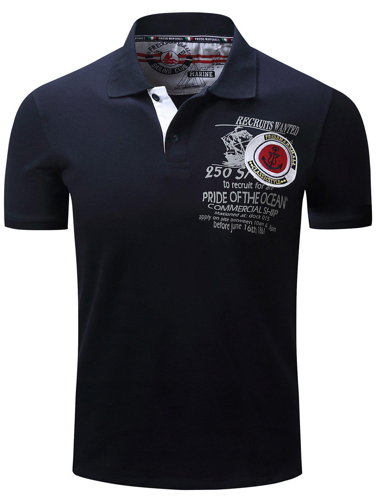 Image of Anchor Embroidered Graphic Print Polo T-shirt