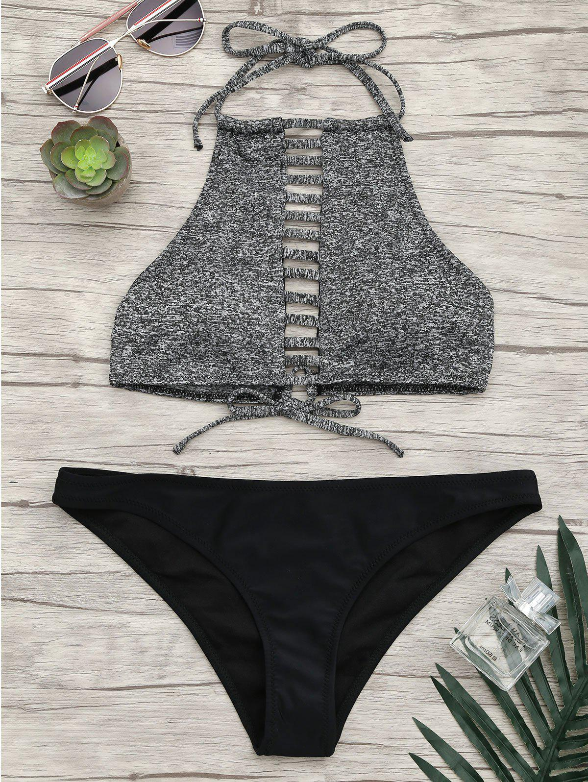 Halter Ladder Cutout Bikini SetWOMEN<br><br>Size: S; Color: GRAY; Swimwear Type: Bikini; Gender: For Women; Material: Nylon,Spandex; Bra Style: Padded; Support Type: Wire Free; Neckline: Halter; Pattern Type: Patchwork; Embellishment: Hollow Out; Waist: Natural; Elasticity: Elastic; Weight: 0.2000kg; Package Contents: 1 x Bra  1 x Briefs;