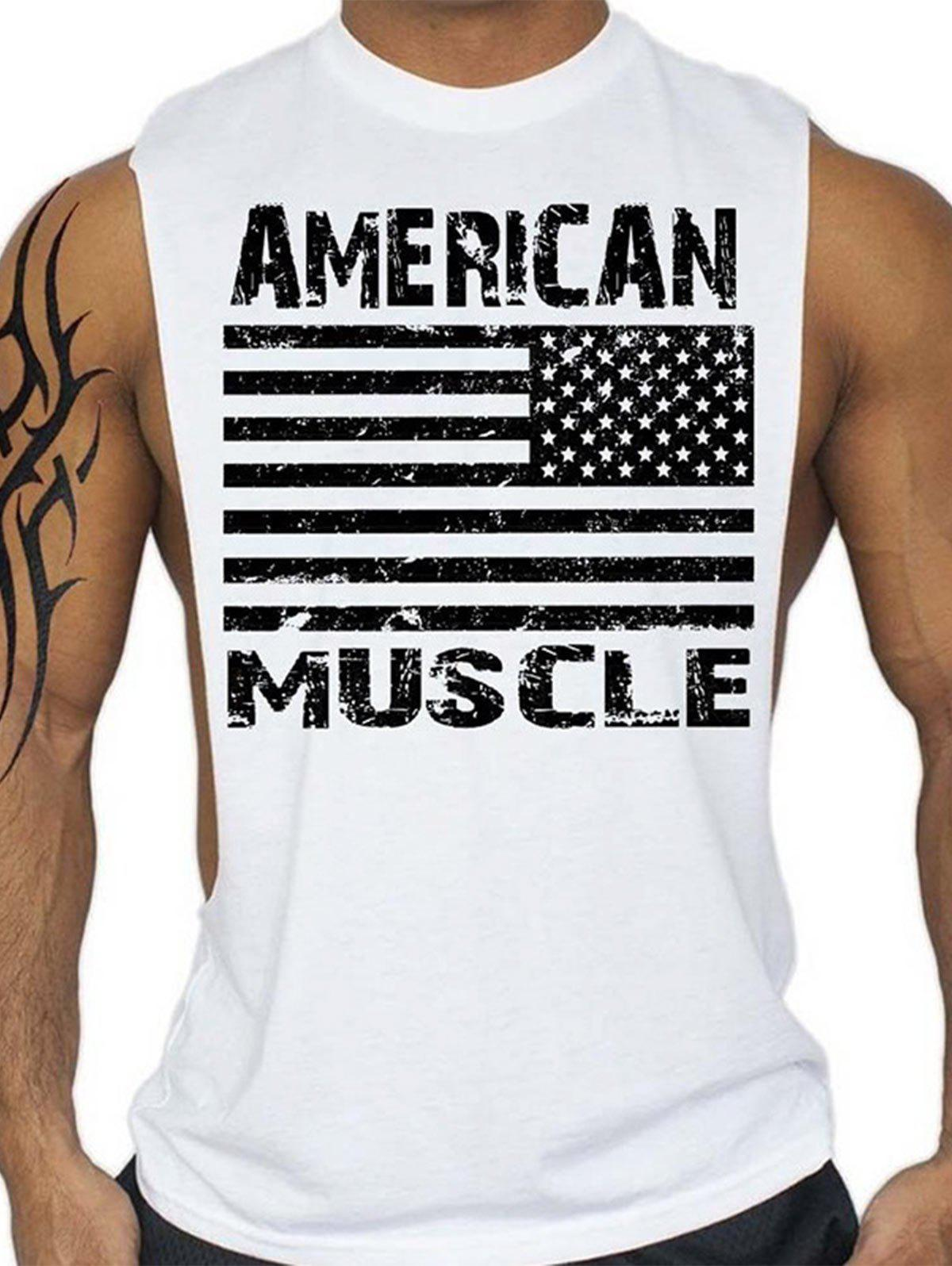Latest Bodybuilding Muscle American Flag Tank Top