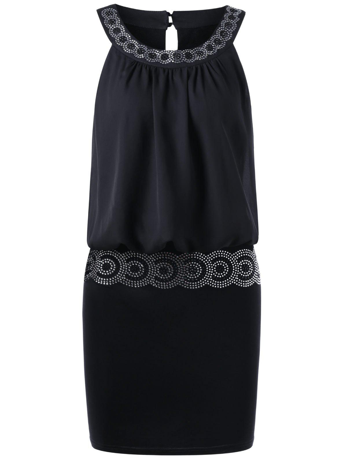 Online Sequined Embellished Club Mini Blouson Dress
