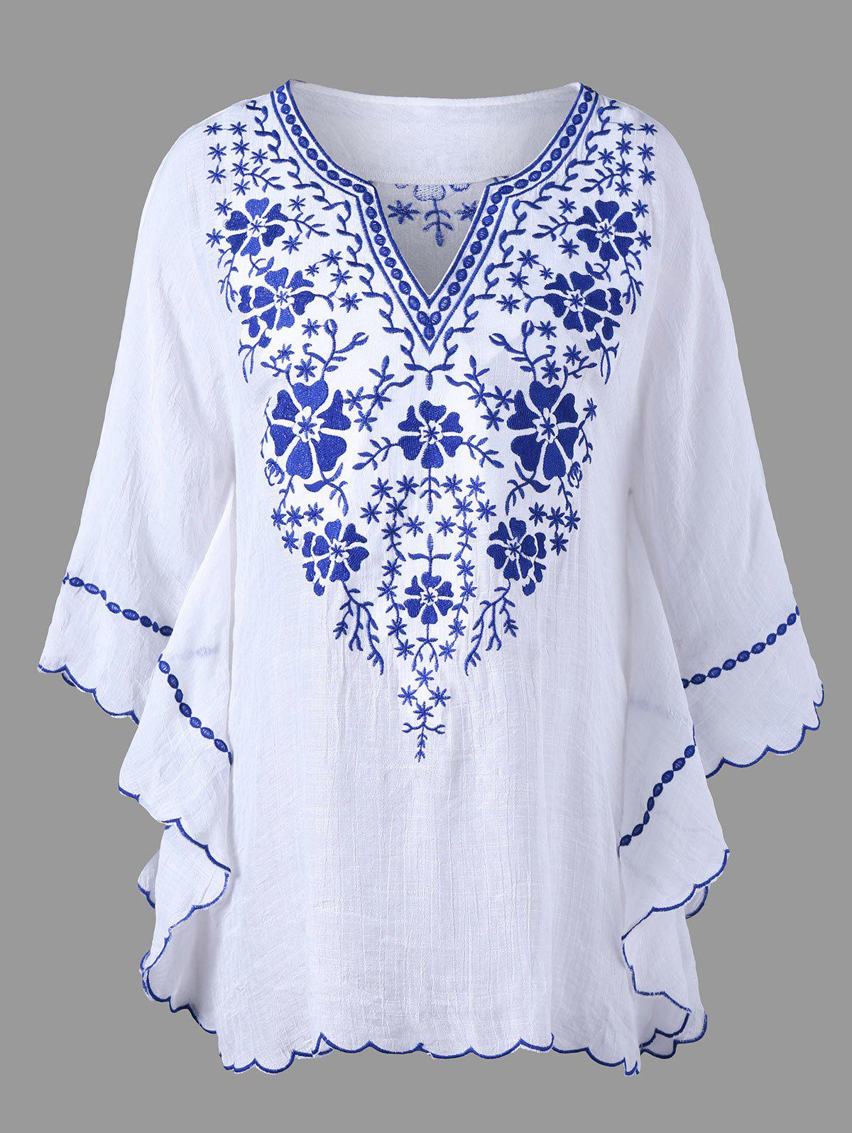 Plus Size Scalloped Hem Embroidered BlouseWOMEN<br><br>Size: XL; Color: WHITE; Material: Polyester,Spandex; Shirt Length: Long; Sleeve Length: Three Quarter; Collar: V-Neck; Style: Fashion; Season: Fall,Spring,Summer; Pattern Type: Others; Weight: 0.2700kg; Package Contents: 1 x Blouse;