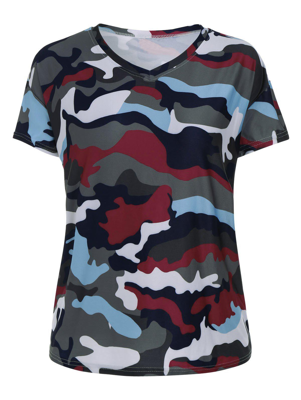 Acu camouflage 5xl plus size v neck camouflage print t for Camouflage t shirt printing
