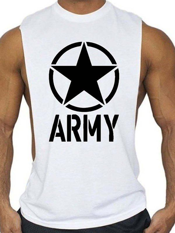 Online Graphic and Star Print Sports Tank Top
