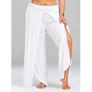 High Split Plus Size Palazzo Pants - White - 4xl