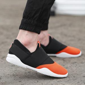 Stretch Fabric Breathable Elastic Casual Shoes - Black And Orange - 40