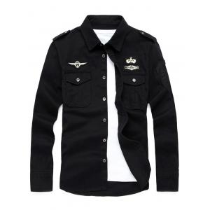 Badge Embroidered Design Military Shirt - Black - 3xl