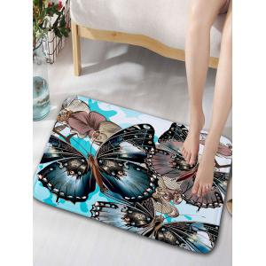 Floral Butterfly Pattern Flannel Water Absorption Bathroom Rug