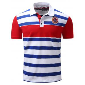 Stripe Color Block Panel Anchor Embroidered Polo T-shirt