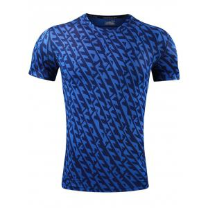 Quick Dry All Over Printed Sport T-shirt - Blue - L