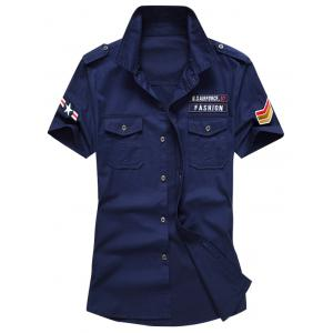 Embroidered Patch Front Pocket Shirt - Deep Blue - L