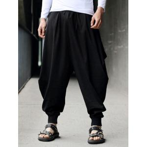 Low-Slung Crotch Drawstring Cotton Linen Harem Pants - Black - One Size