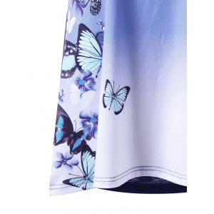 Plus Size Ombre Butterfly Print T-shirt -