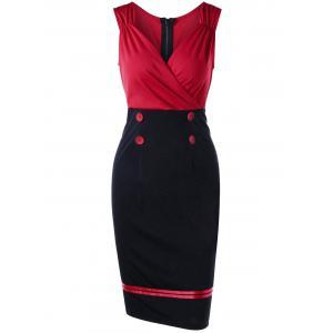 Sleeveless Double Breasted Vintage Sheath Pencil Dress - Red - L