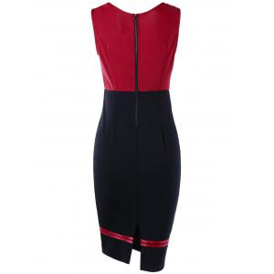 Sleeveless Double Breasted Vintage Sheath Pencil Dress - RED L